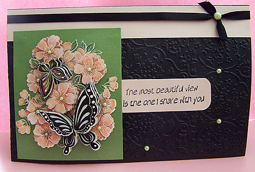 3-d black butterfly card
