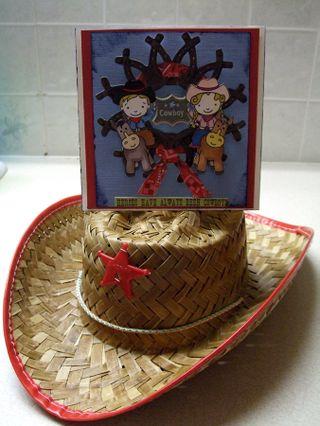 Wrangler card on hat